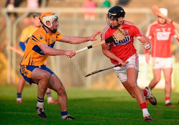 Eoin Cadogan of Cork in action against Conor McGrath of Clare. Photo by Diarmuid Greene/Sportsfile