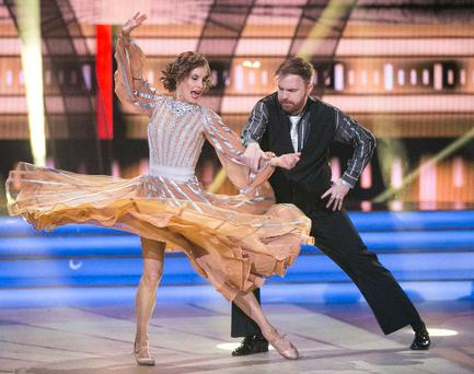 Broadcaster and Comedian Bernard O'Shea and Valeria Milova during the opening show of RTE's Dancing with the Stars. kobpix