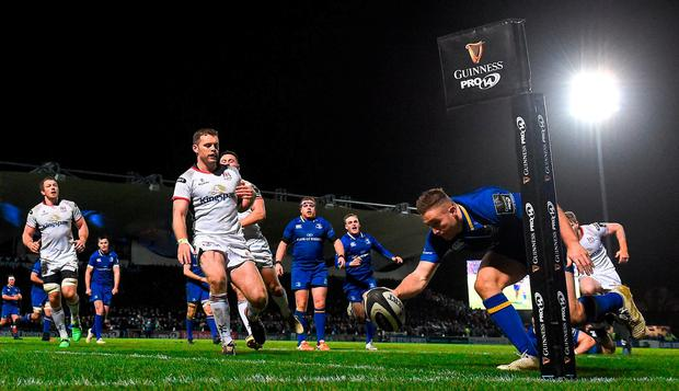 Jordan Larmour scores Leinster's fifth try. Photo: David Fitzgerald/Sportsfile