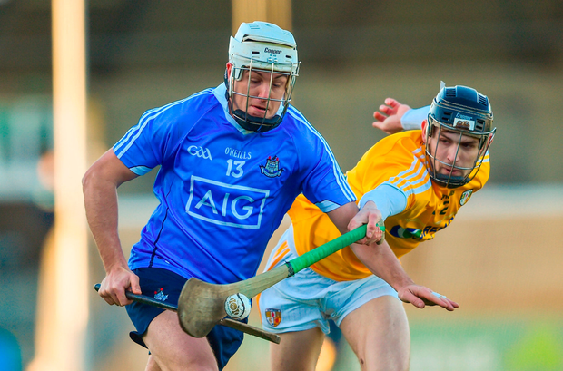 Alan Moore of Dublin in action against David Kearney of Antrim. Photo by David Fitzgerald/Sportsfile
