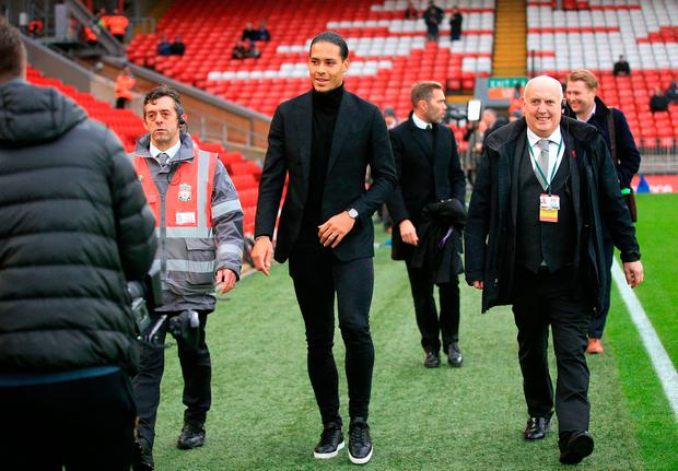 Virgil Van Dijk at Anfield after his £75m move from Southampton. Photo: PA