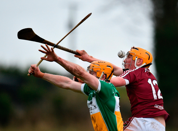 Niall Mitchell of Westmeath in action against Sean Gardiner of Offaly. Photo by Seb Daly/Sportsfile
