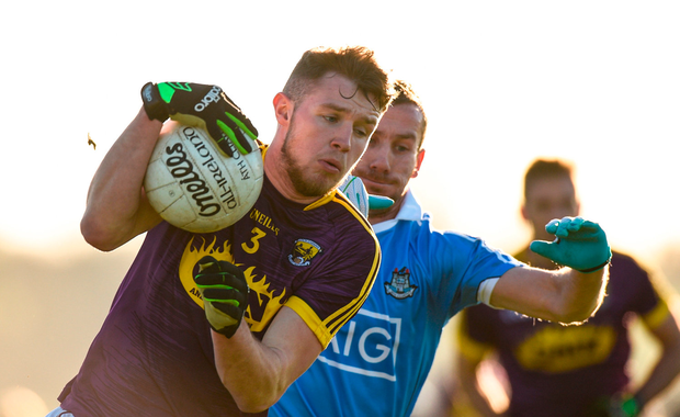 Mark O'Neill of Wexford in action against Garry Seaver of Dublin. Photo by Matt Browne/Sportsfile