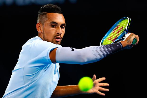 Kyrgios wrapped up the first set in 37 minutes despite having to save five break-points. Photo: Reuters
