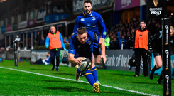 Jordan Larmour scores in front of the RDS Grand Stand Photo by David Fitzgerald/Sportsfile