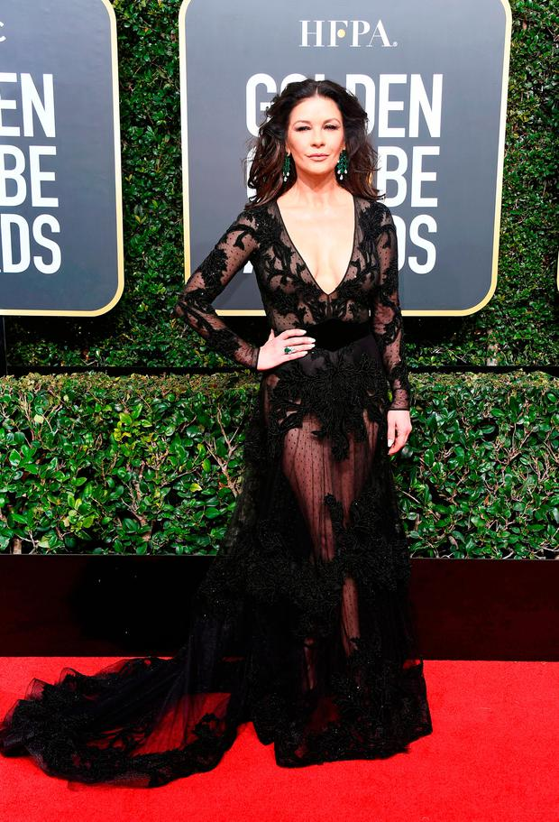 Actor Catherine Zeta-Jones attends The 75th Annual Golden Globe Awards at The Beverly Hilton Hotel on January 7, 2018 in Beverly Hills, California. (Photo by Frazer Harrison/Getty Images)