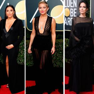 (L to R) Reese Witherspoon and Eva Longoria, Kate Hudson, Angelina Jolie and Justin Timberlake and Jessica Biel at the 75th Golden Globes