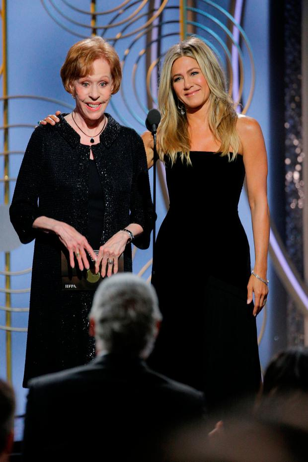 Carol Burnett, Jennifer Aniston, presenters at the 75th Golden Globe Awards in Beverly Hills, California, U.S. January 7, 2018