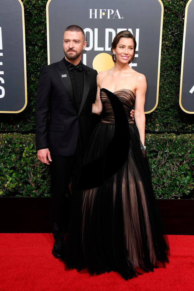 BEVERLY HILLS, CA - JANUARY 07: Justin Timberlake and Jessica Biel attends The 75th Annual Golden Globe Awards at The Beverly Hilton Hotel on January 7, 2018 in Beverly Hills, California. (Photo by Frazer Harrison/Getty Images)
