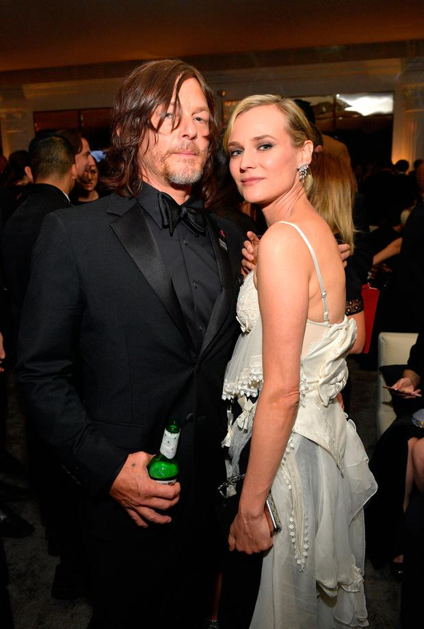 Actors Norman Reedus (L) and Diane Kruger attend the 2018 InStyle and Warner Bros. 75th Annual Golden Globe Awards Post-Party at The Beverly Hilton Hotel on January 7, 2018 in Beverly Hills, California. (Photo by Matt Winkelmeyer/Getty Images for InStyle)