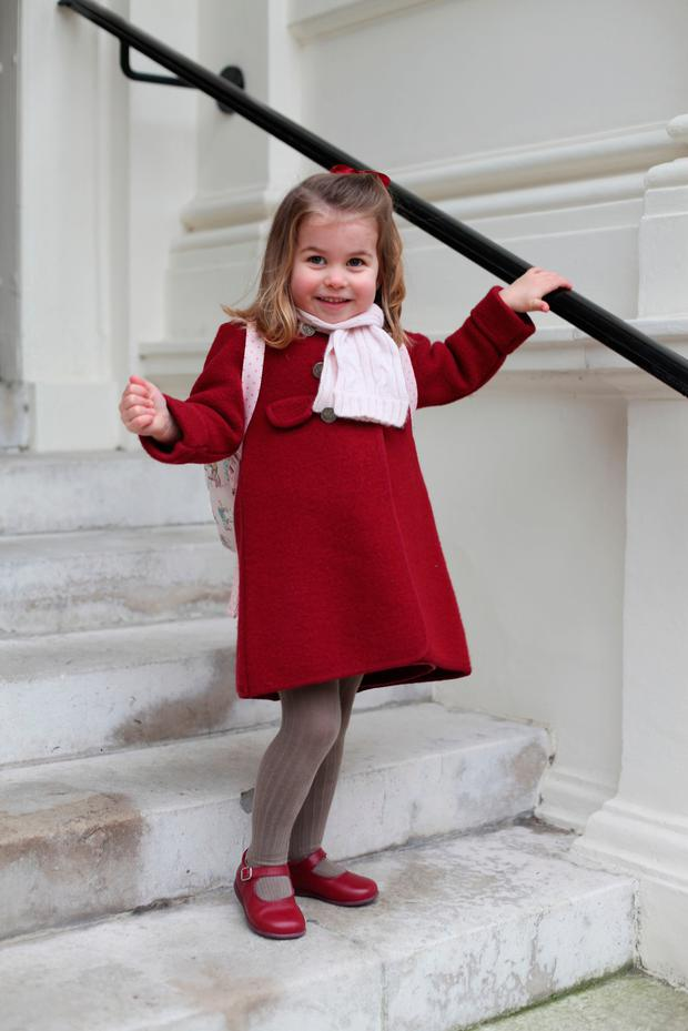Handout photo released by the Duke and Duchess of Cambridge of Princess Charlotte taken by her mother at Kensington Palace this morning shortly before the princess left for her first day of nursery at the Willcocks Nursery School. Photo: Kate Middleton / Kensington Palace
