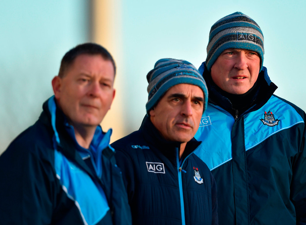Dublin selectors Paddy O'Donoghue, Anthony Cunningham and manager Pat Gilroy during last Sunday's win over Antrim. Photo: Sportsfile