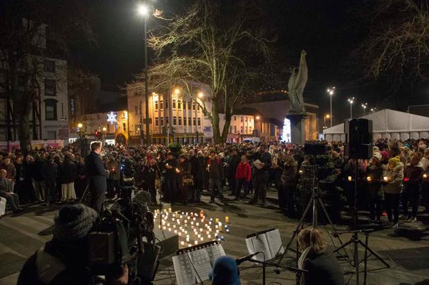 A candlelit vigil has been held in honour of Yosuke Sasaki. Pic: Ciara Wilkinson