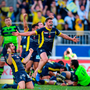 Clermont players celebrate at the final whistle after beating Leinster in last year's Champions Cup semi-final Photo: Stephen McCarthy/Sportsfile