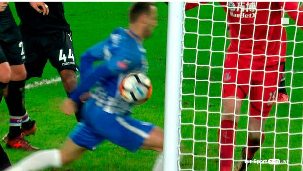 Video grab taken from BT Sport of Brighton & Hove Albion's Glenn Murray scoring his sides second goal during the Emirates FA Cup, Third Round match at the AMEX Stadium, Brighton. Photo credit: BT Sport/PA Wire.