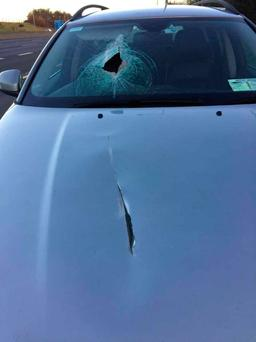 The damage done to Jason Pickett's car by the metal bar. Photos: RTÉ 'Liveline'
