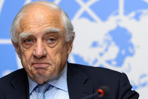 Peter Sutherland pictured at the UN office in Geneva in 2015. Photo: Getty
