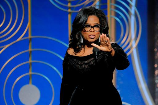 Oprah Winfrey speaks after accepting the Cecil B DeMille Award at the 75th Golden Globe Awards in Los Angeles. Photo: Reuters