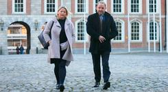 Maurice McCabe and his wife Lorraine at the Disclosures Tribunal at Dublin Castle yesterday. Photo: Gareth Chaney