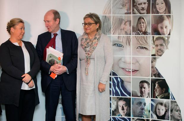 Gillian Treacy (left) and Donna Price with Transport Minister Shane Ross at the announcement that both have been appointed to the board of the Road Safety Authority. Photo: Gareth Chaney
