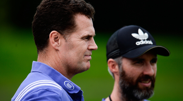 Former Munster director of rugby Rassie Erasmus, left, with head of fitness Aled Walters