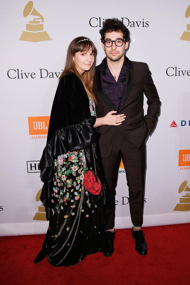 Actor Lena Dunham (L) and musician Jack Antonoff attend Pre-GRAMMY Gala and Salute to Industry Icons Honoring Debra Lee at The Beverly Hilton on February 11, 2017 in Los Angeles, California. (Photo by Kevork Djansezian/Getty Images)