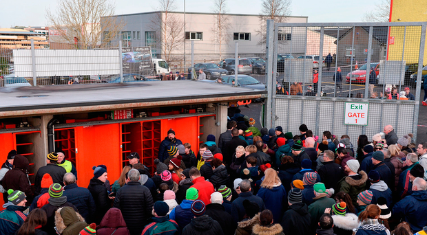 Spectators queue up to swap their match tickets for tickets for the next fixture, after the game was called off due to a frozen pitch. Connacht FBD League Round 2 match between Mayo and Galway at Elverys MacHale Park in Mayo. Photo by Piaras Ó Mídheach/Sportsfile