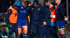 Garry Ringrose of Leinster after being substituted due to an injury in the second half during the Guinness PRO14 Round 13 match between Leinster and Ulster at the RDS Arena in Dublin. Photo by David Fitzgerald/Sportsfile