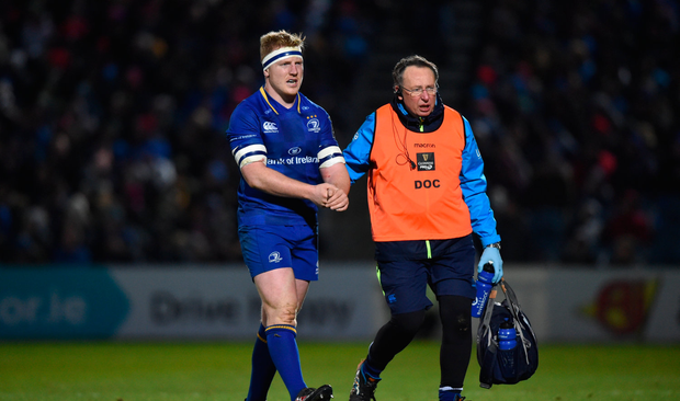 James Tracy of Leinster is substituted due to an injury against Ulster