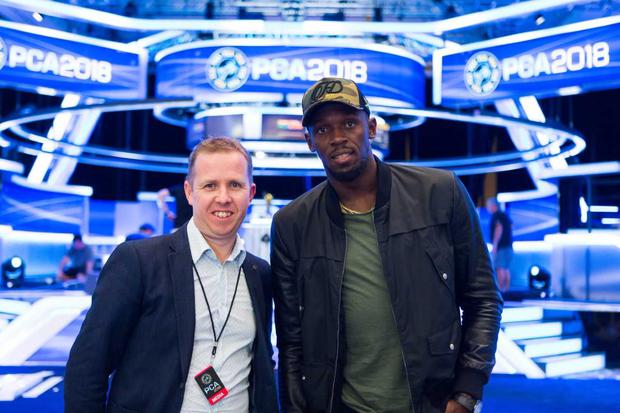 Kevin Palmer and Usain Bolt at the PokerStar Caribbean Adventure.