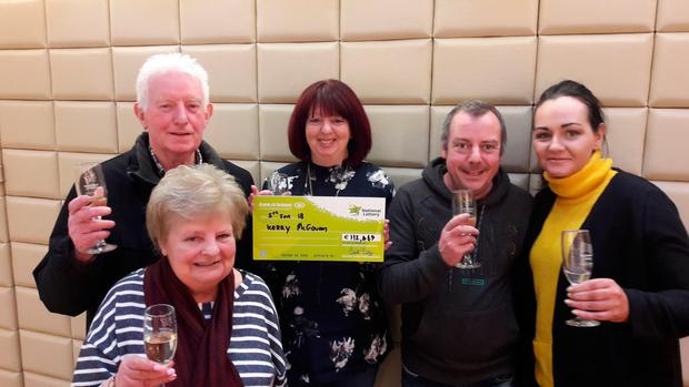Peter, Margaret, Kerry and Connor McGowan and Mary Donohoe celebrate Kerry's €112,469 Lotto win
