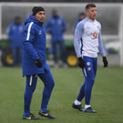 Chelsea boss Antonio Conte pictured at their Cobham training ground yesterday with new signing Ross Barkley, who is still working on his match fitness. Photo: Getty Images