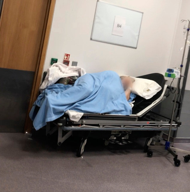 A patient in a corridor in St Vincent's