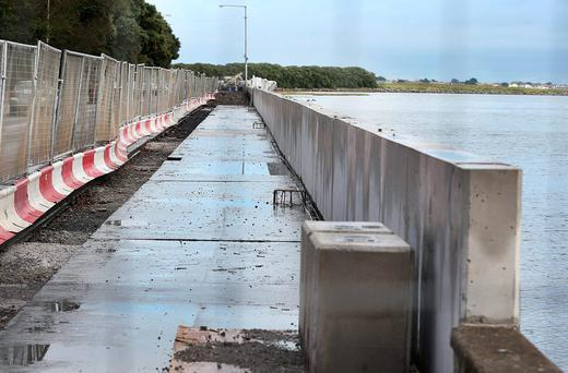 The flood protection wall being constructed in November 2015 along the Clontarf Road at St. Annes Park
