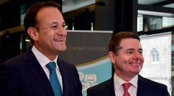 Paschal Donohoe and Leo Varadkar. Photo: Claire Godkin