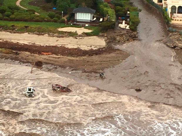 An aerial view from a Ventura Country Sheriff helicopter shows a site damaged by mudslide in Montecito, California, U.S. January 9, 2018. Ventura County Sheriff's Office/via REUTERS