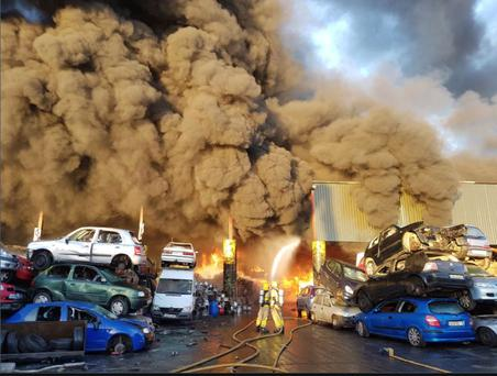 Eight units of Dublin Fire Brigade are attending a significant fire at a recycling plant in north Dublin (Image: DFB)