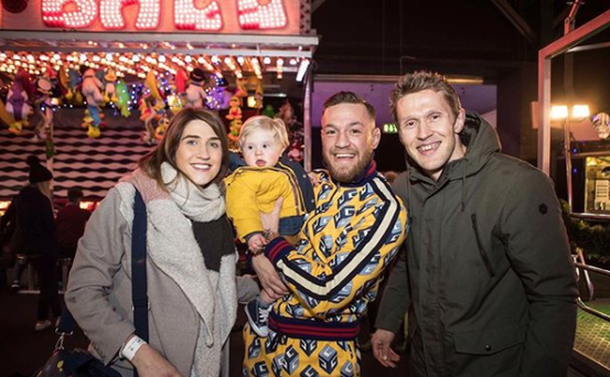 Conor Mc Gregor with Ciaran Maher Ciaran's son and wife