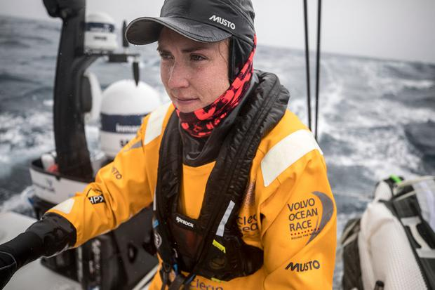 Ship to shore: Annalise Murphy aboard 'Turn the Tide on Plastic' in the mid Atalantic on leg 2 of Volvo Ocean Race from Capetown to Lisbon. Photo by Sam Greenfield