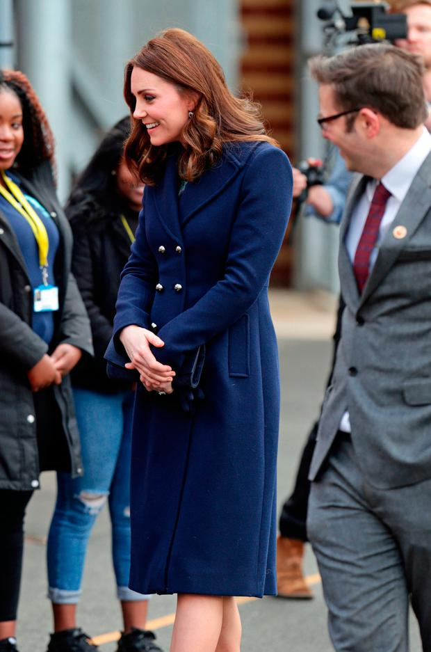 The Duchess of Cambridge arriving to visit the Reach Academy Feltham, in London, a school working in partnership with Place2Be and other organisations to support children, families and the school community