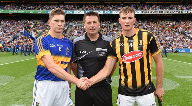 Tipperary captain Brendan Maher and Kilkenny captain Shane Prendergast shake hands, in front of referee Brian Gavin, before the GAA Hurling All-Ireland Senior Championship Final match between Kilkenny and Tipperary in 2016
