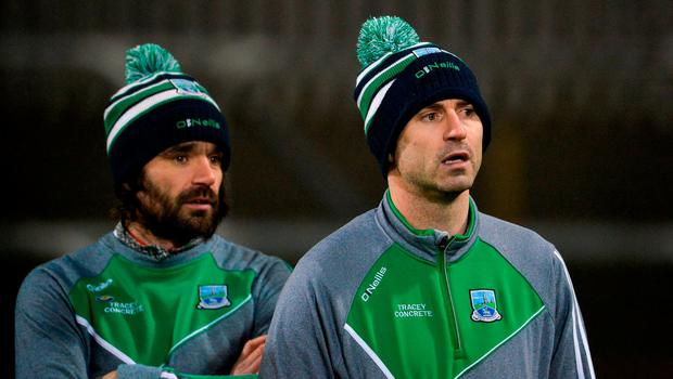 Fermanagh manager Rory Gallagher, right, and assistant manager Ryan McMenamin before the Bank of Ireland Dr. McKenna Cup Section C Round 3 match between Donegal and Fermanagh at Páirc MacCumhaill in Ballybofey, Donegal. Photo by Oliver McVeigh/Sportsfile