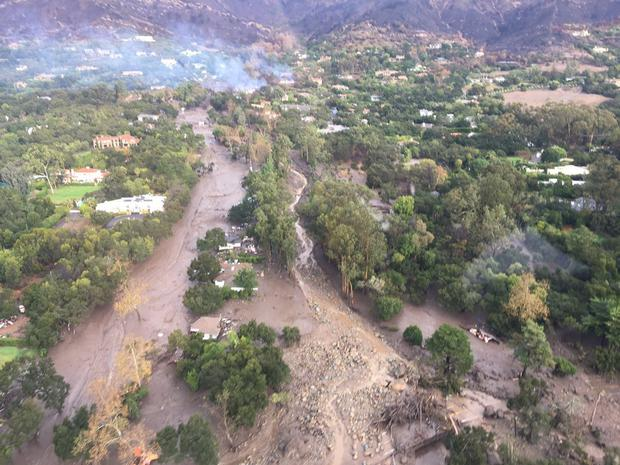 The massive mudslide that smashed down on Montecito. Photo: Reuters