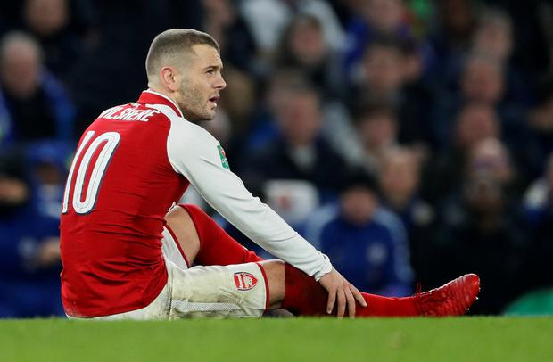 Arsenal's Jack Wilshere nurses an injury. Photo: Reuters
