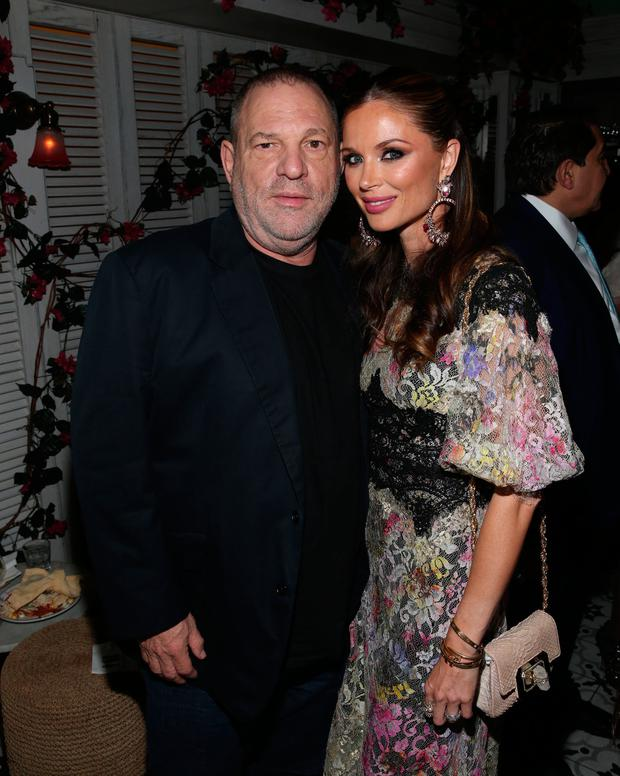 Harvey Weinstein and Georgina Chapman attend the Haute Living Celebrates Georgina Chapman with Perrier-Jouet and JetSmarter event at Socialista New York on September 27, 2016 in New York City. (Photo by Rob Kim/Getty Images for Haute Living)
