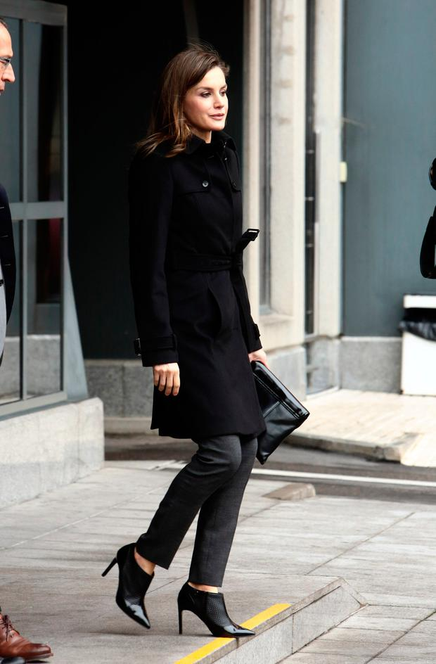 Queen Letizia of Spain is seen arriving at a meeting at Fundeu BBVA on January 10, 2018 in Madrid, Spain. (Photo by Europa Press/Europa Press via Getty Images)