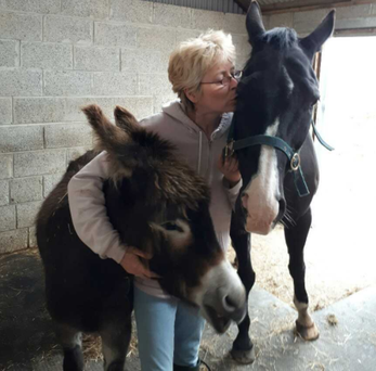 Dr Annette Hunter with her horse and donkey.