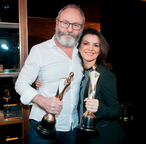 Liam Cunningham and Deirdre O'Kane at the announcement of the 2018 Ifta nominations. Photo Gareth Chaney, Collins