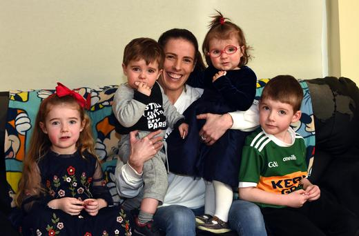 Sinead Curran with her kids Sianna, Tommy, Lauren and Conor pictured at home in Portmagee, Co Kerry. Photo: Don Macmonagle