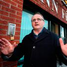 West Tyrone MP Barry McElduff leaving Sinn Féin's headquarters on the Falls Road in Belfast following his suspension. Photo: PA
